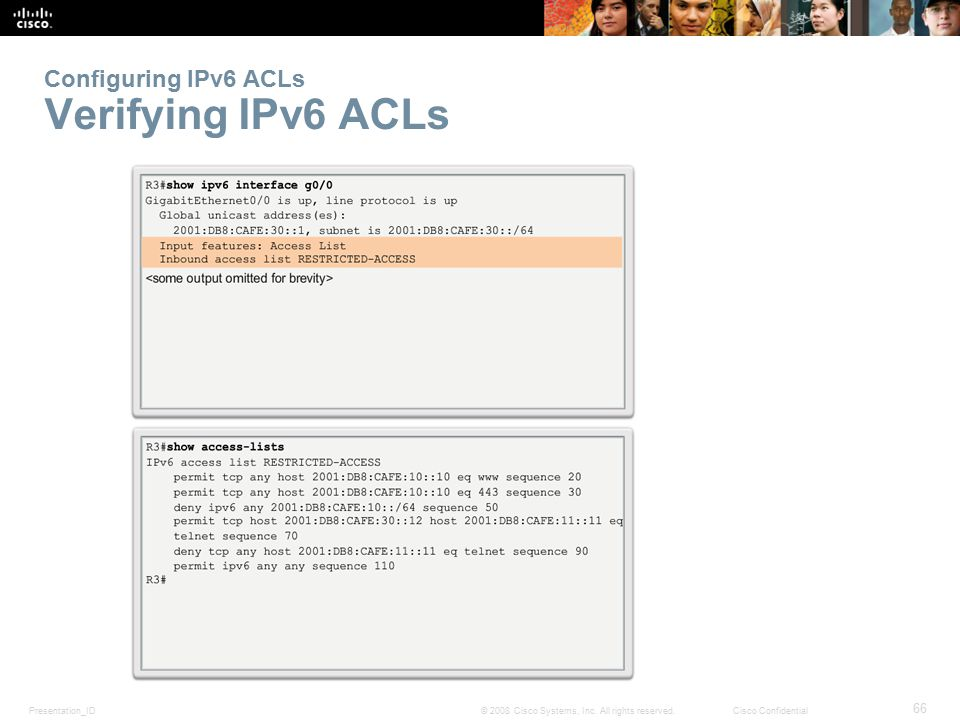 Configuring IPv6 ACLs Verifying IPv6 ACLs