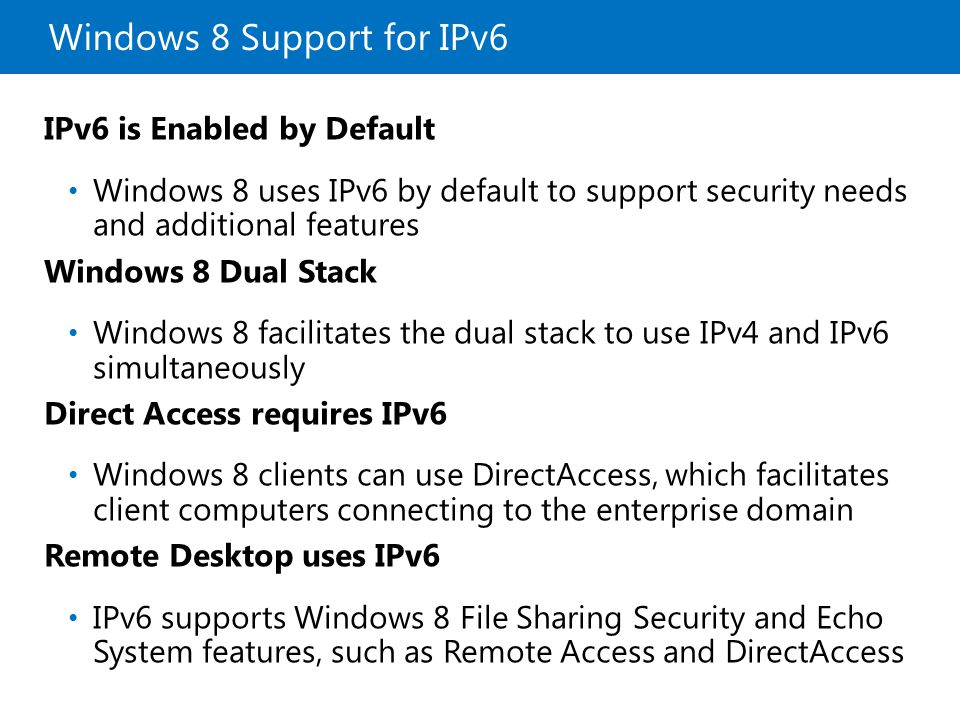 Windows 8 Support for IPv6