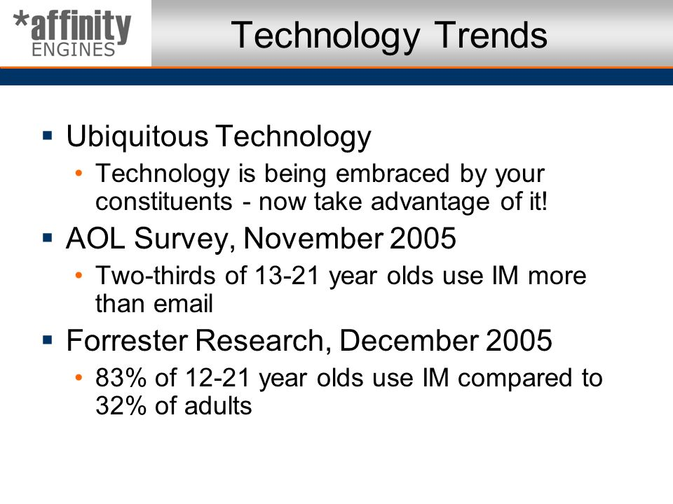 Technology Trends Ubiquitous Technology AOL Survey, November 2005
