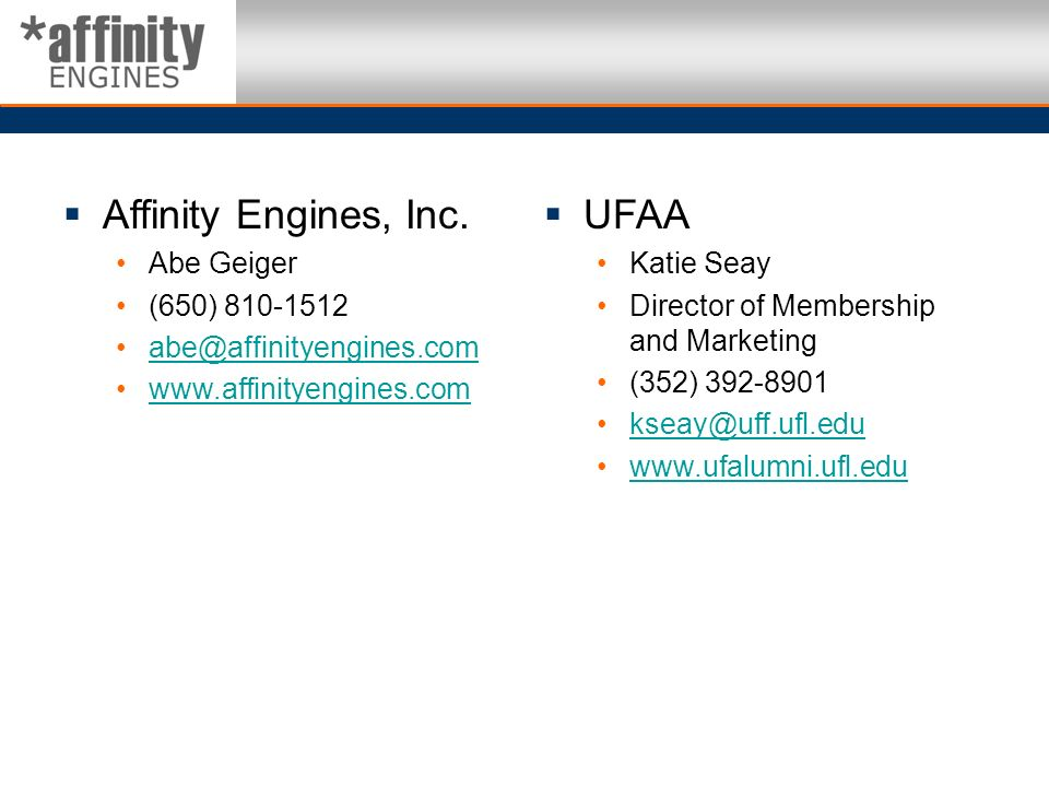 Affinity Engines, Inc. UFAA Abe Geiger (650) 810-1512