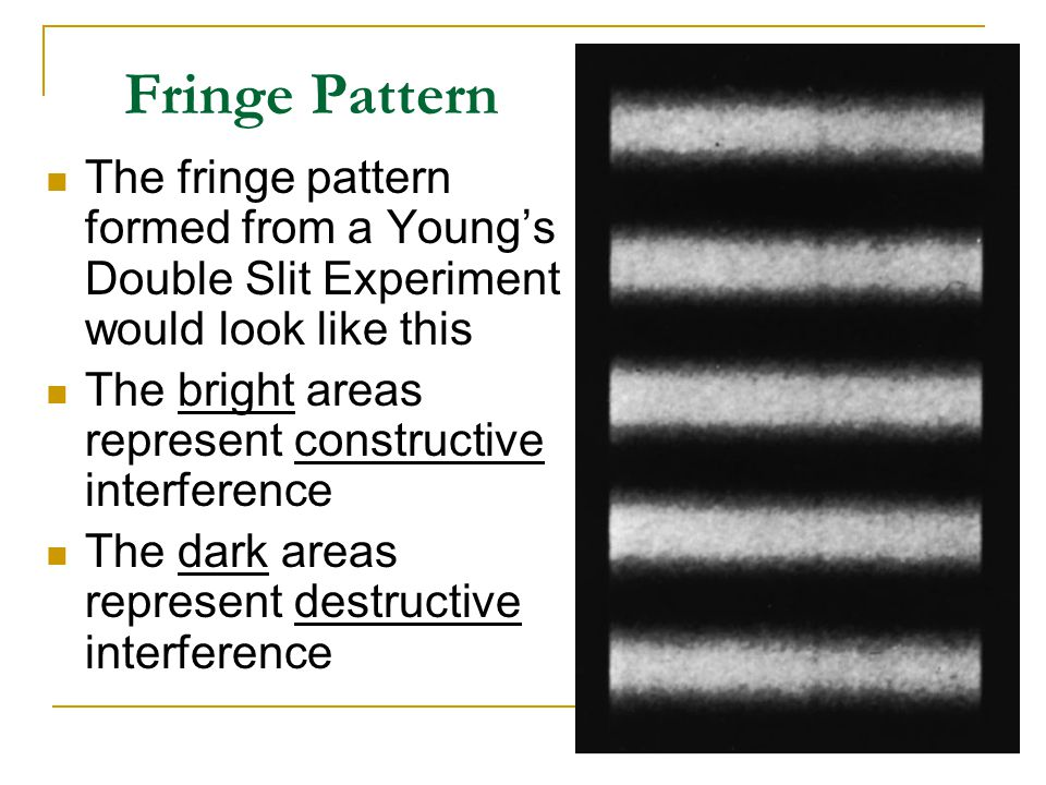 Fringe Pattern The fringe pattern formed from a Young's Double Slit Experiment would look like this.