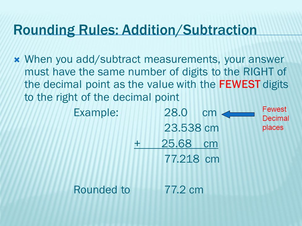 Rounding Rules: Addition/Subtraction