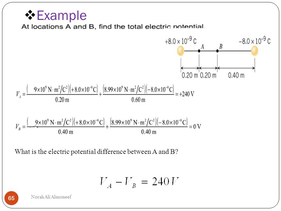 Example What Is The Electric Potential Difference Between A And B