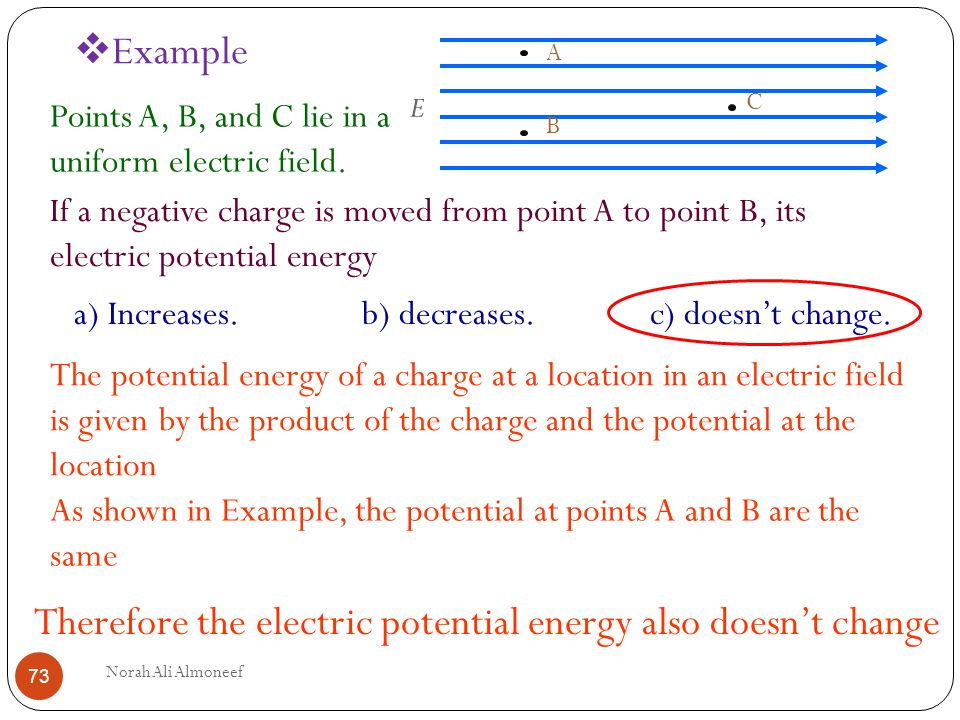 Therefore The Electric Potential Energy Also Doesn T Change