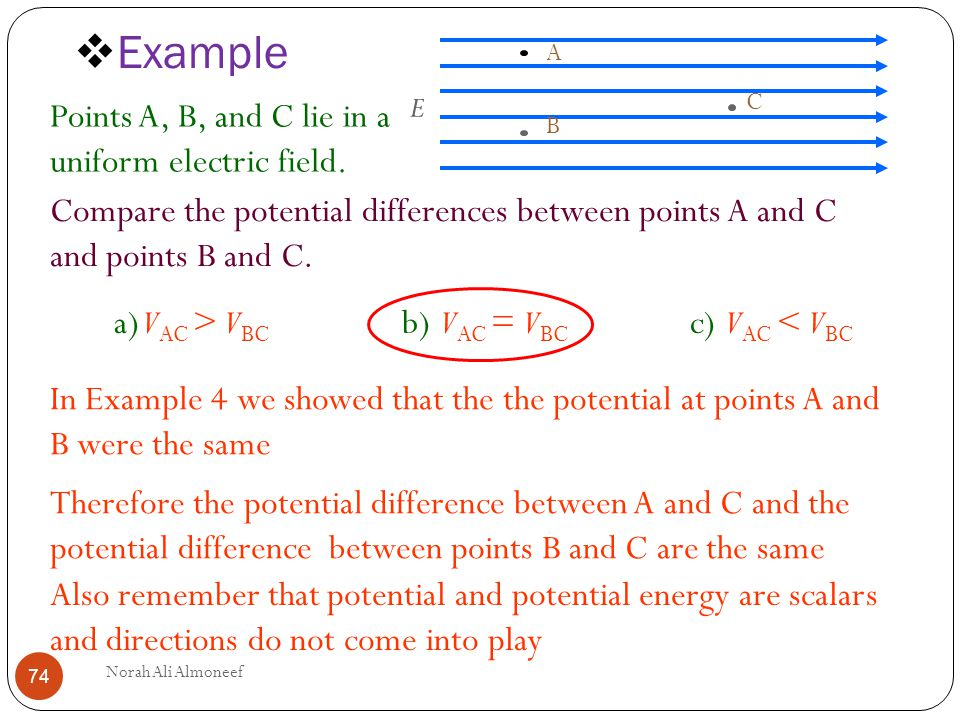 Example Points A B And C Lie In Uniform Electric Field
