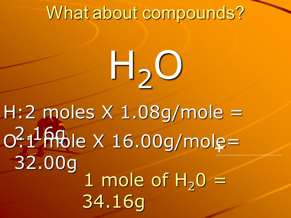 H2O What about compounds H:2 moles X 1.08g/mole = 2.16g