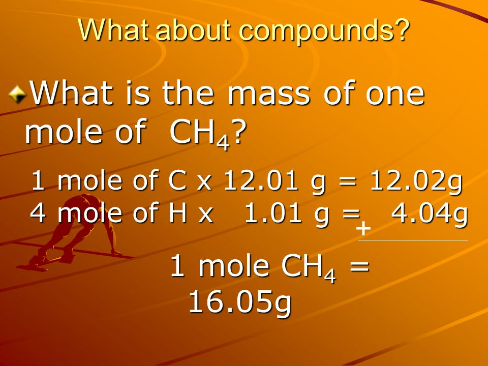 What is the mass of one mole of CH4