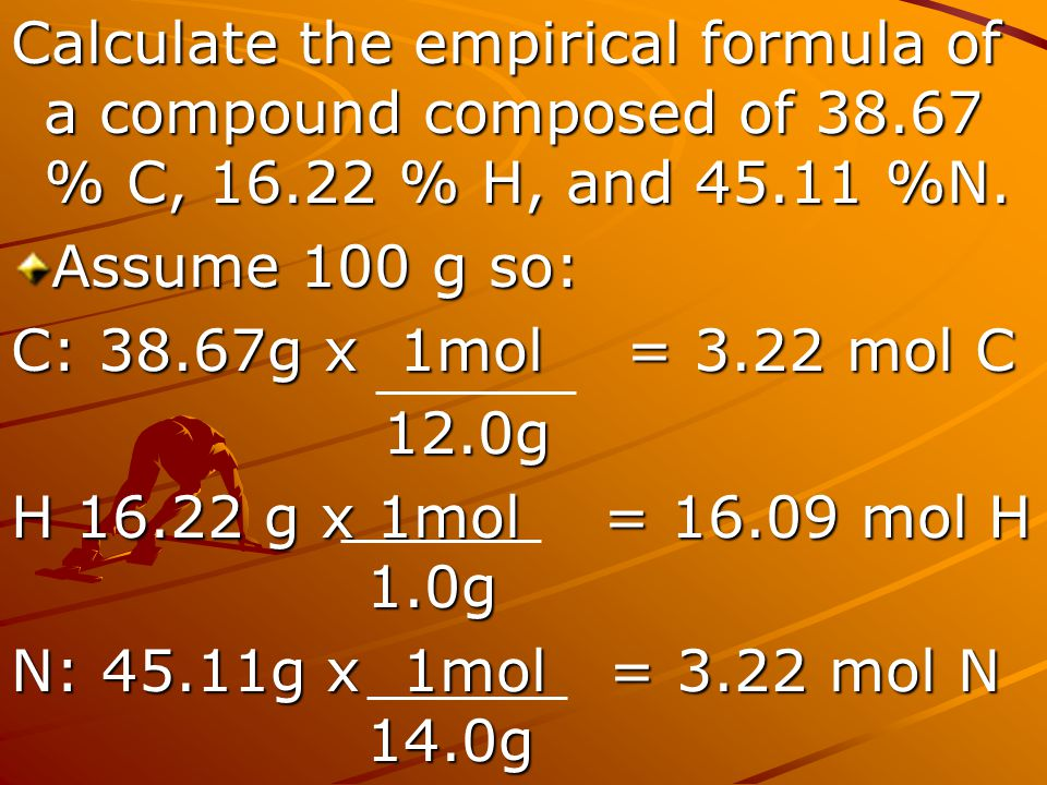 Calculate the empirical formula of a compound composed of 38