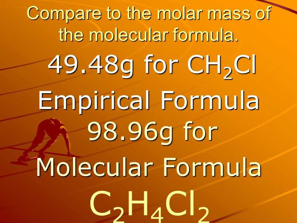 Compare to the molar mass of the molecular formula.