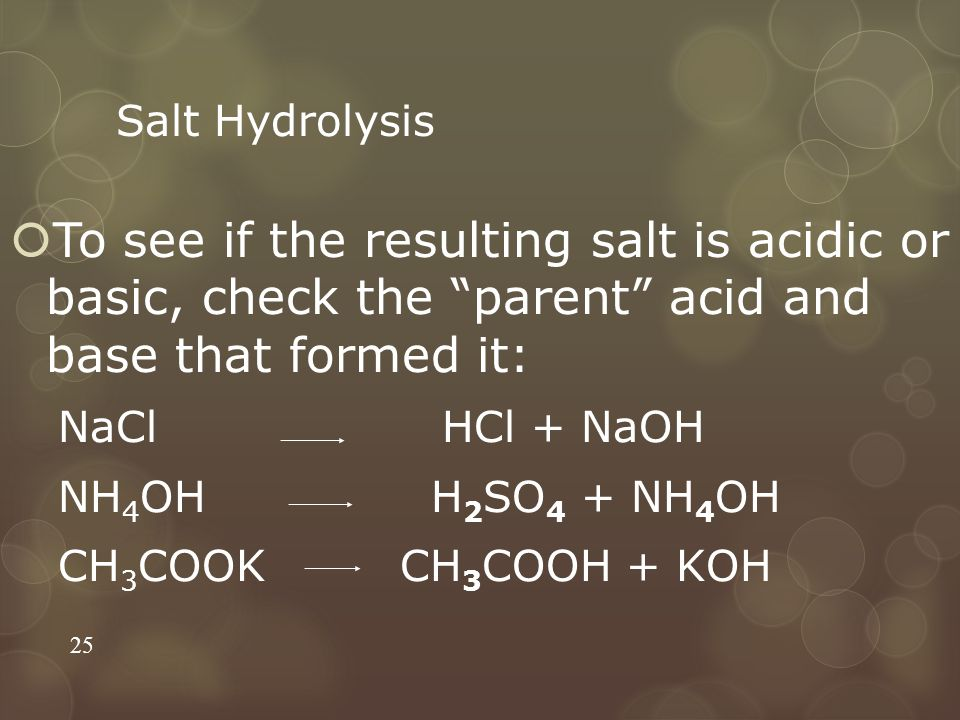 Salt Hydrolysis To see if the resulting salt is acidic or basic, check the parent acid and base that formed it: