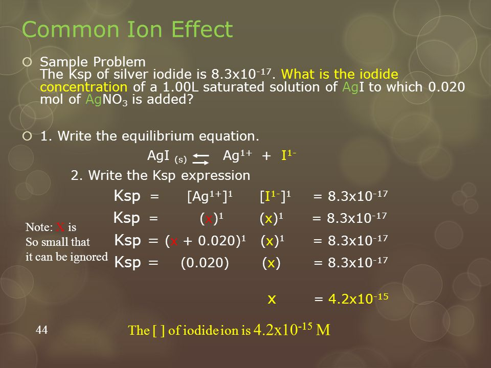 Common Ion Effect Ksp = (x)1 (x)1 = 8.3x10-17 x = 4.2x10-15