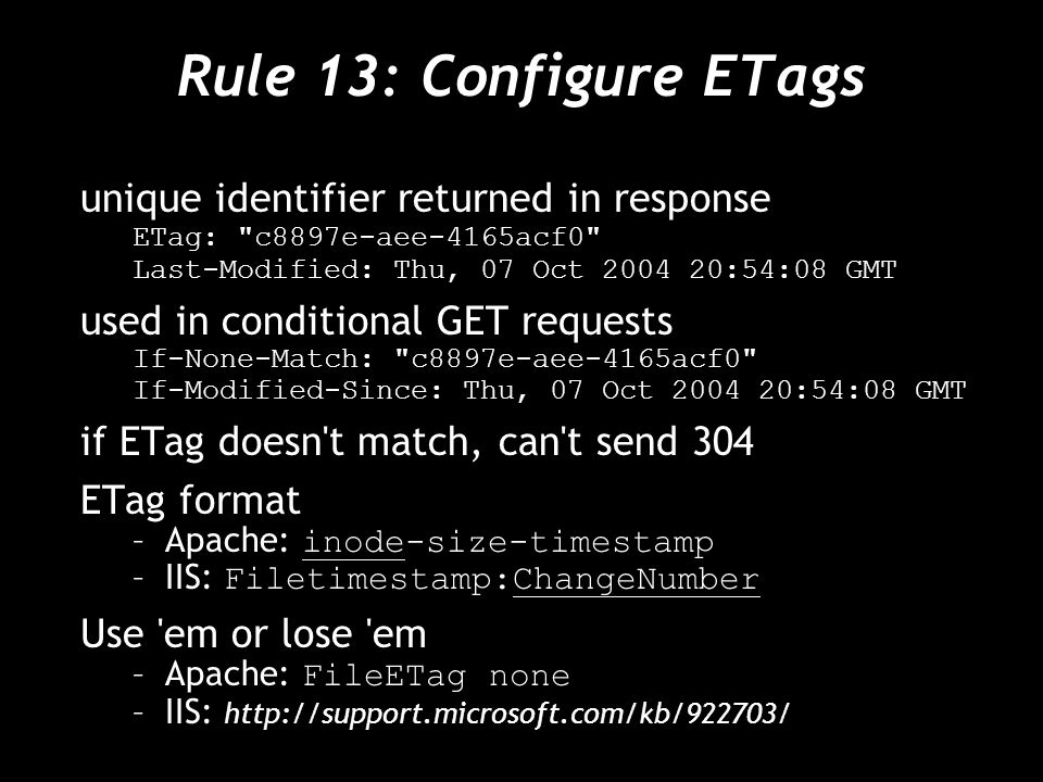 Rule 13: Configure ETags unique identifier returned in response