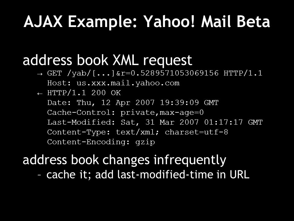 AJAX Example: Yahoo! Mail Beta