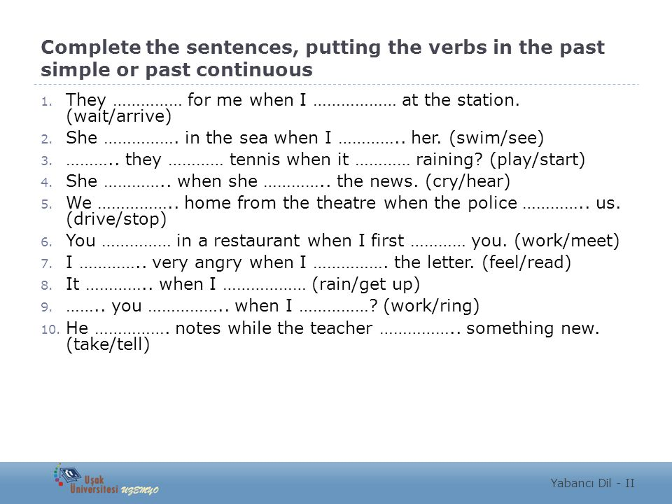 Complete the sentences, putting the verbs in the past simple or past continuous