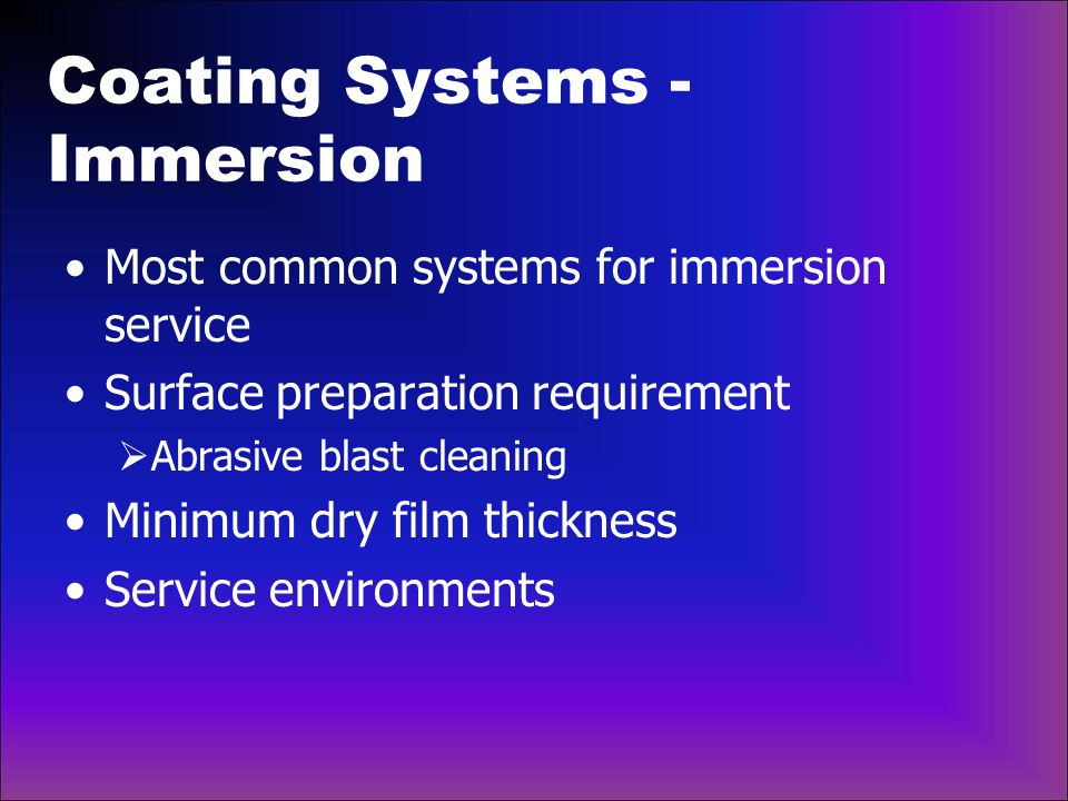 Coating Systems - Immersion