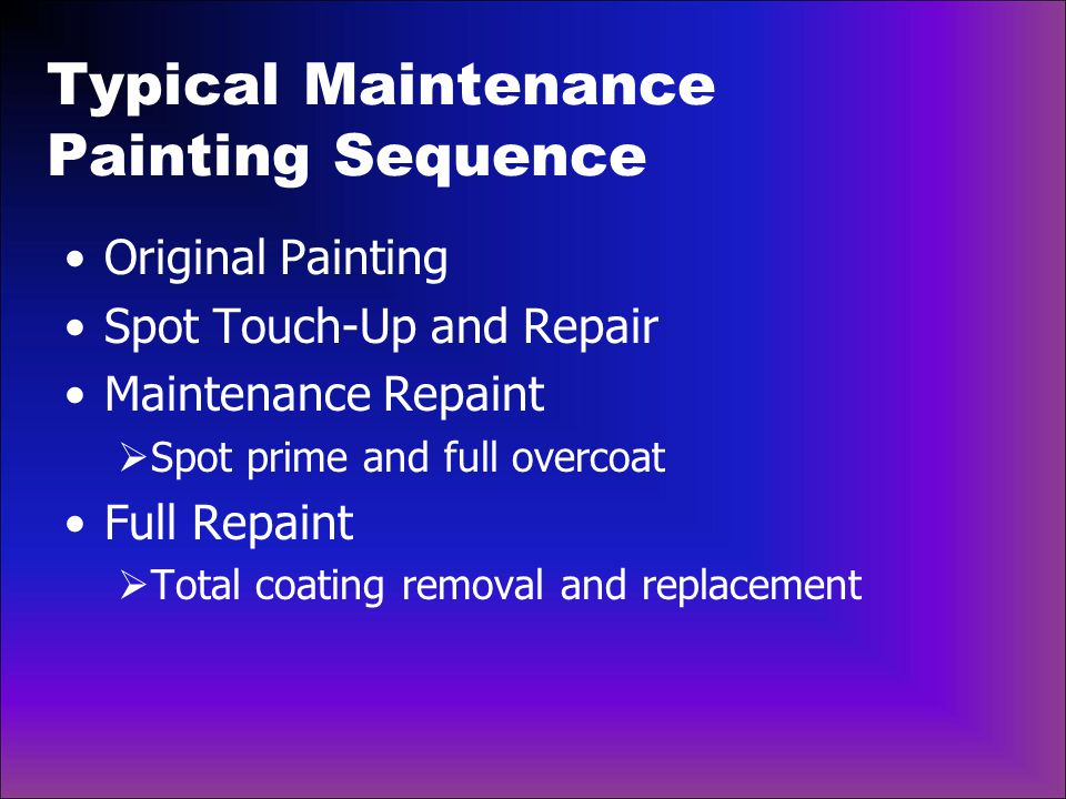 Typical Maintenance Painting Sequence