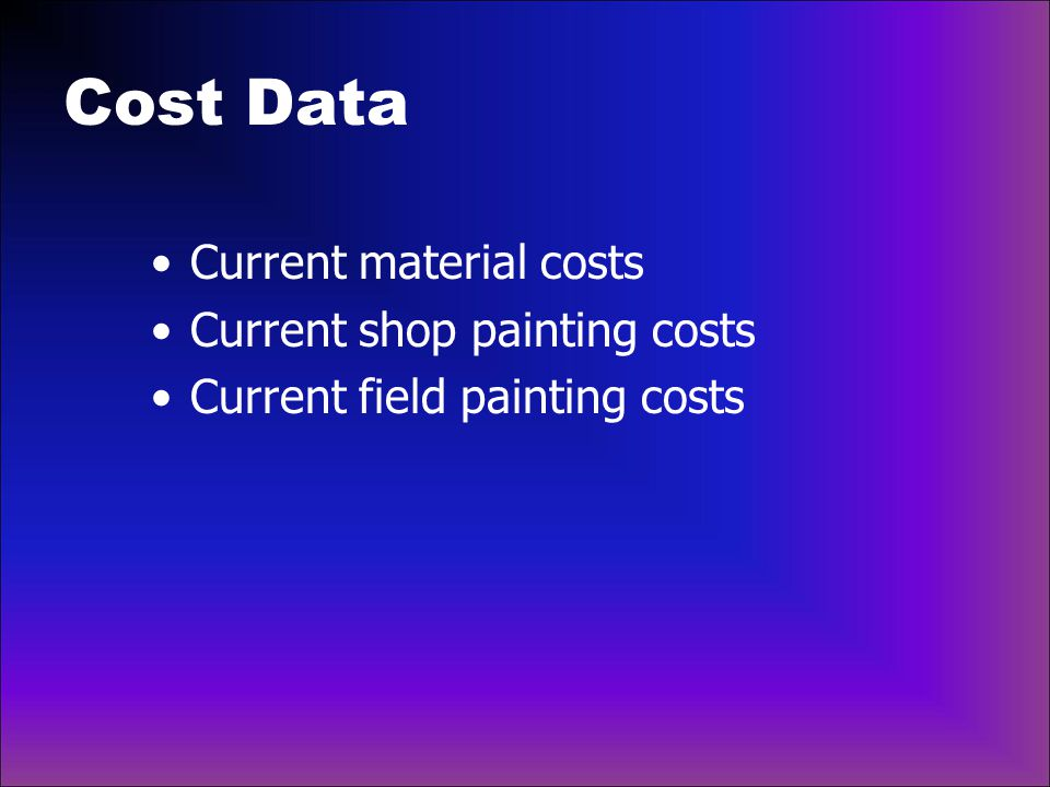 Cost Data Current material costs Current shop painting costs