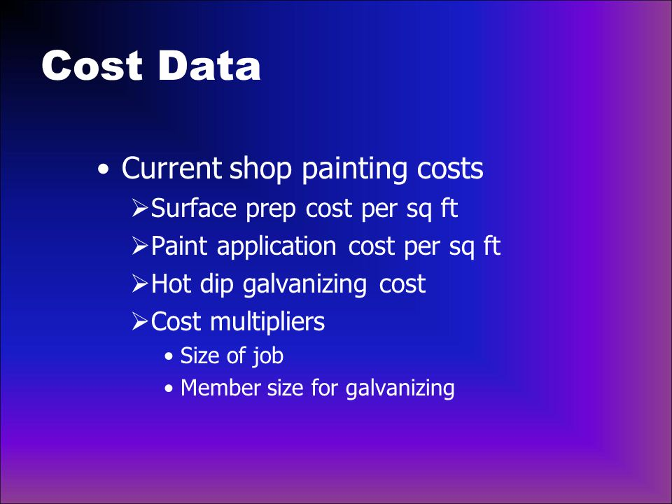 Cost Data Current shop painting costs Surface prep cost per sq ft