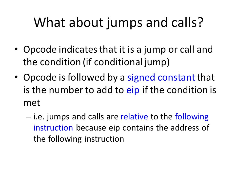 What about jumps and calls