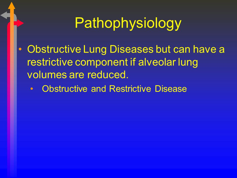 Pathophysiology Obstructive Lung Diseases but can have a restrictive component if alveolar lung volumes are reduced.