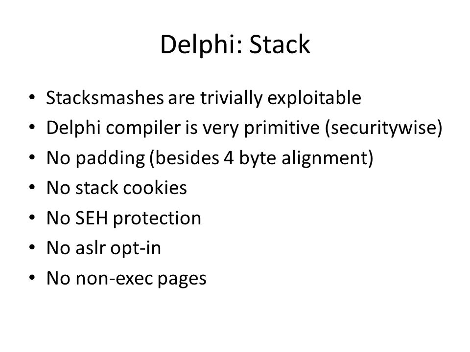 Exploiting delphi/Object pascal - ppt download