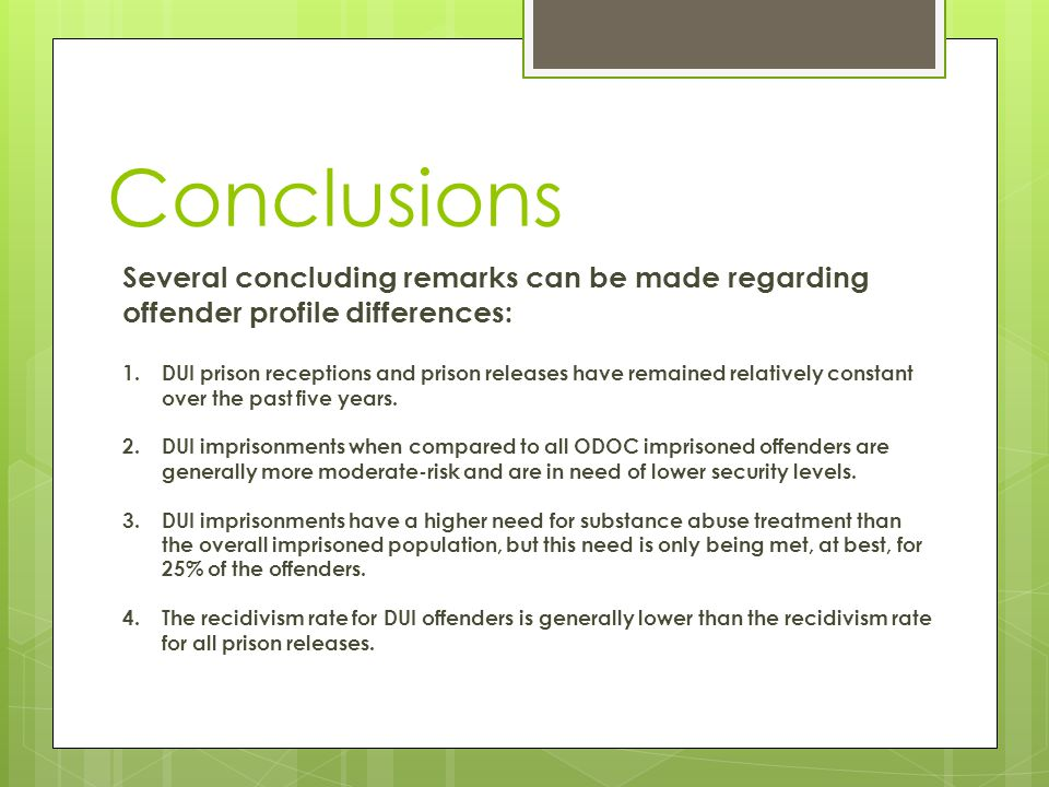 Conclusions Several concluding remarks can be made regarding offender profile differences: