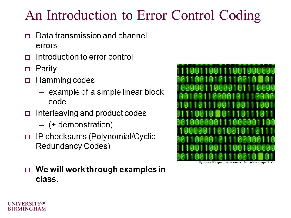 Error control coding schemes