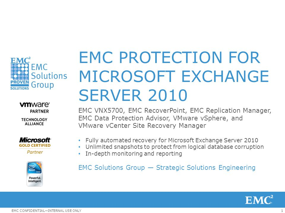 Emc Protection For Microsoft Exchange Server Ppt Download