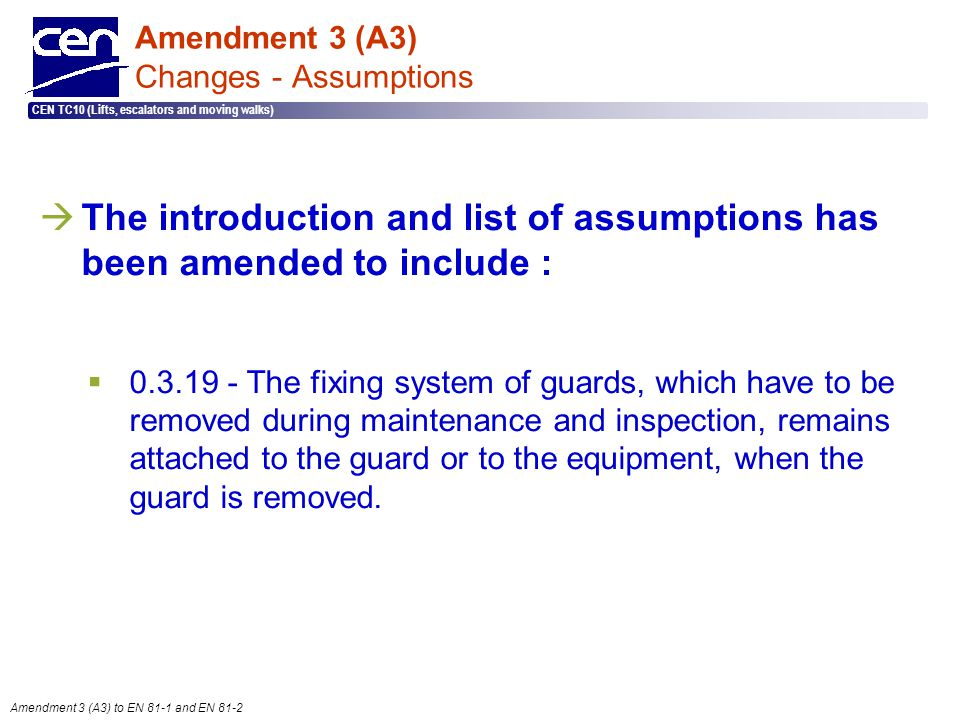 Amendment 3 (A3) Changes - Assumptions