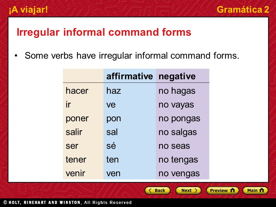 Irregular informal command forms