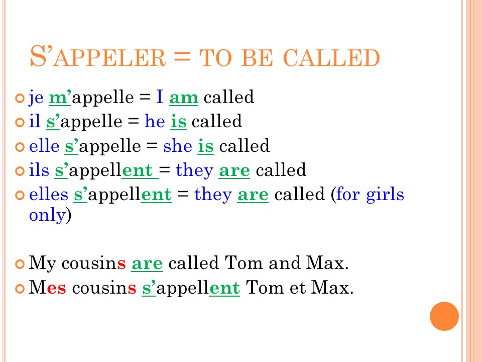 S'appeler = to be called