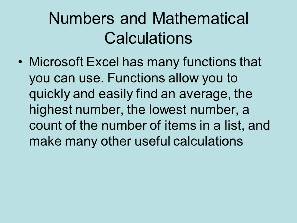 Numbers and Mathematical Calculations
