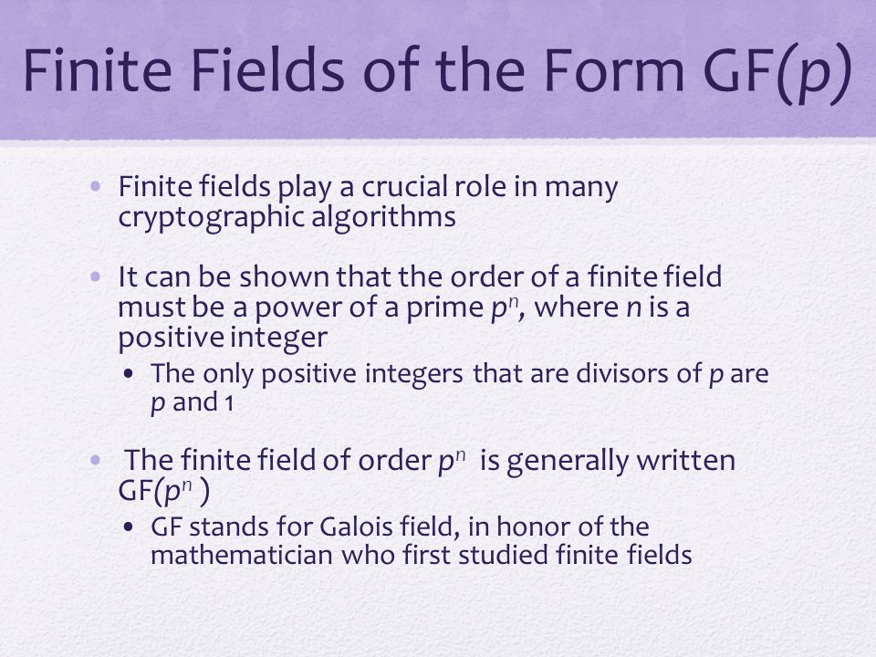 Finite Fields of the Form GF(p)