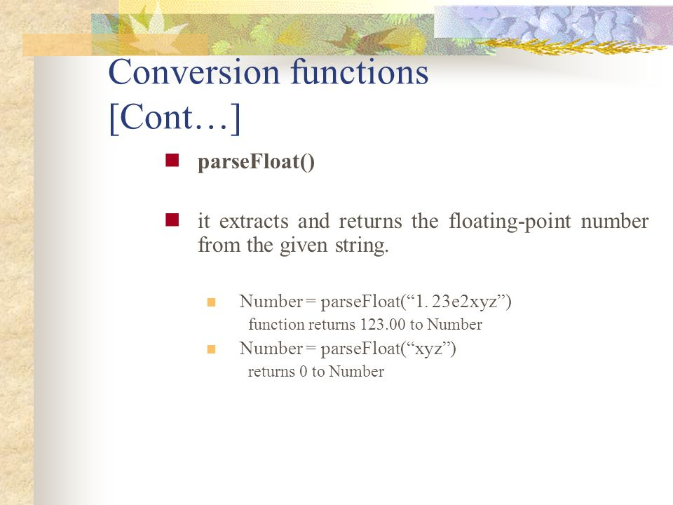 Conversion functions [Cont…]