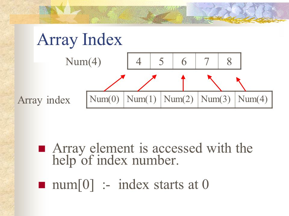 Array Index Array element is accessed with the help of index number.
