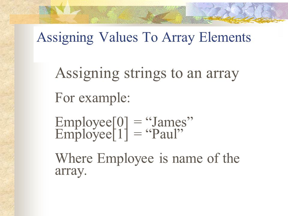 Assigning Values To Array Elements