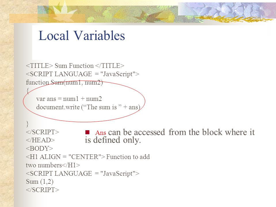 Local Variables <TITLE> Sum Function </TITLE>