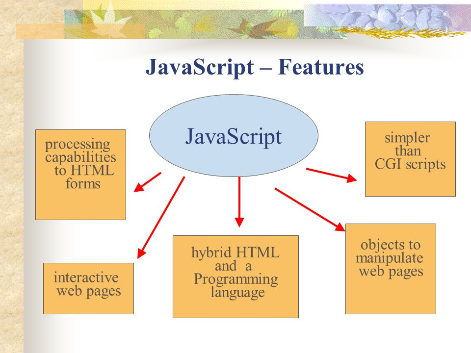 JavaScript – Features JavaScript simpler processing than capabilities