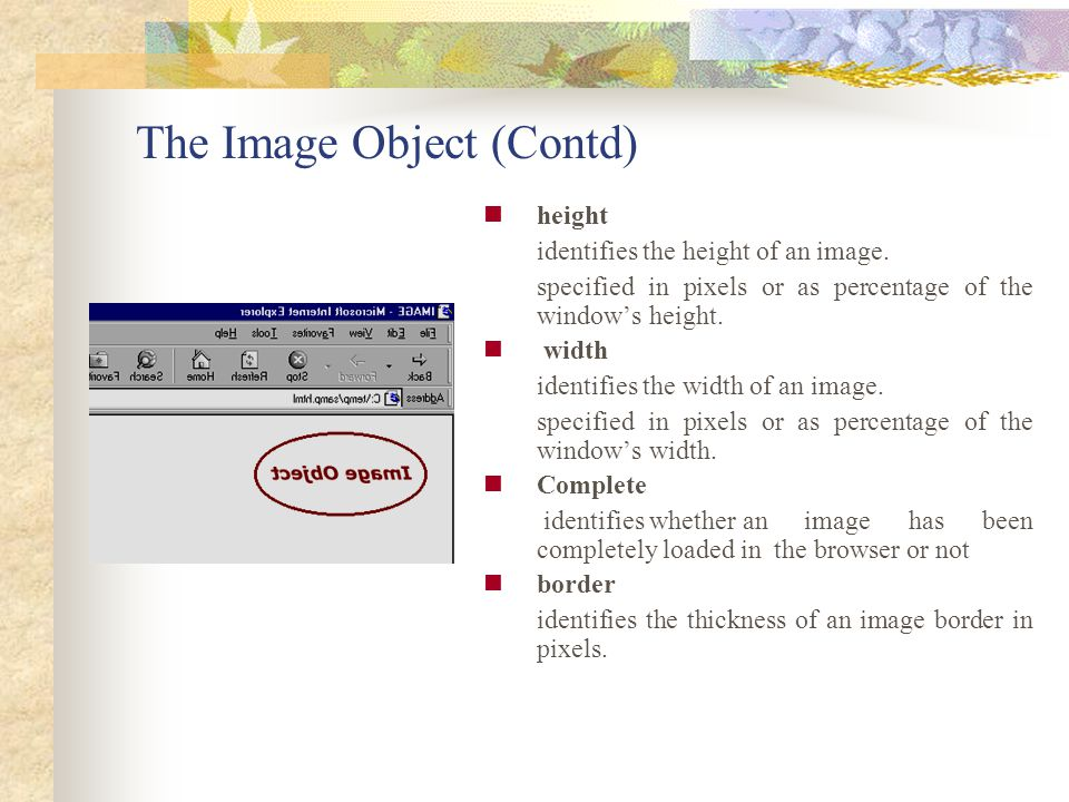 The Image Object (Contd)