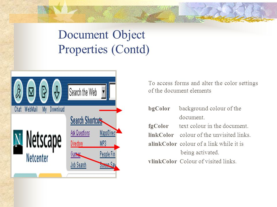 Document Object Properties (Contd)