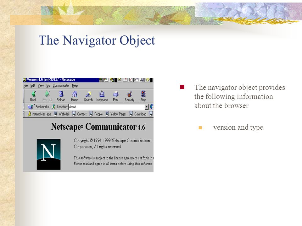 The Navigator Object The navigator object provides the following information about the browser.