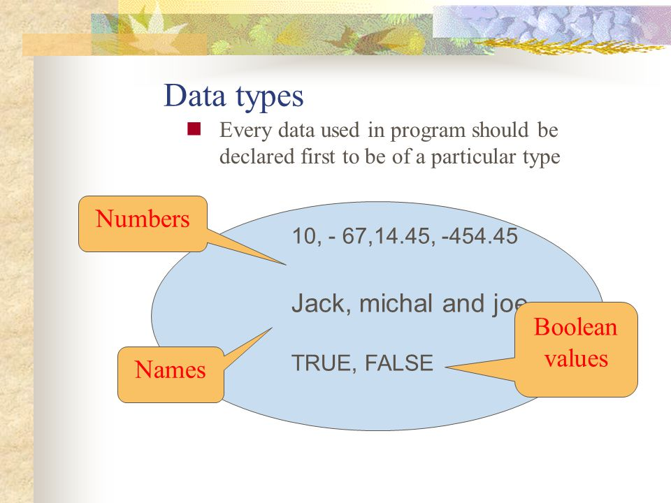 Data types Numbers Jack, michal and joe Boolean values Names