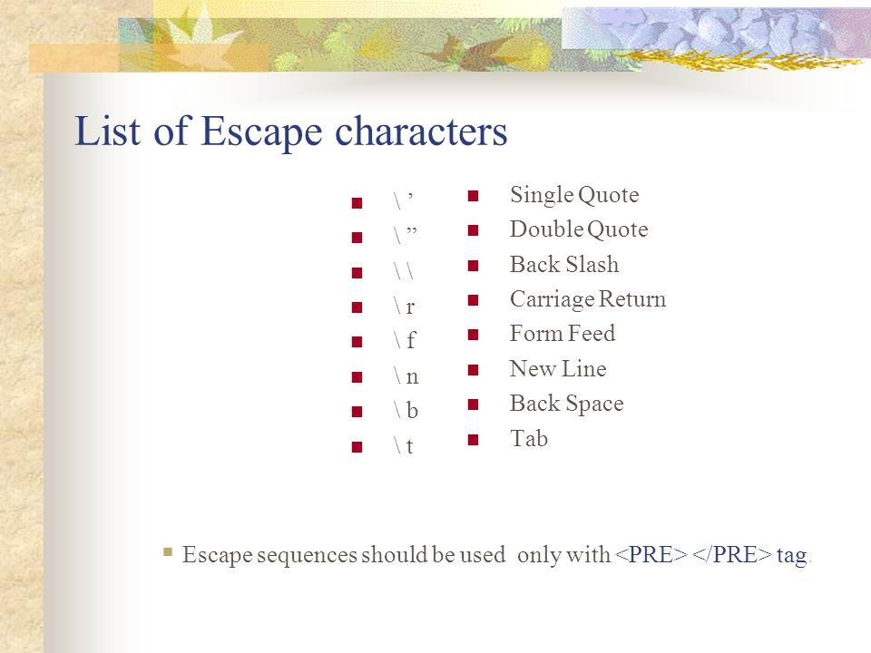 List of Escape characters