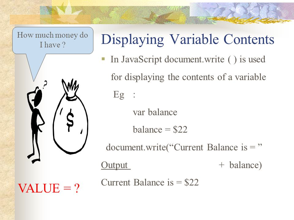 Displaying Variable Contents