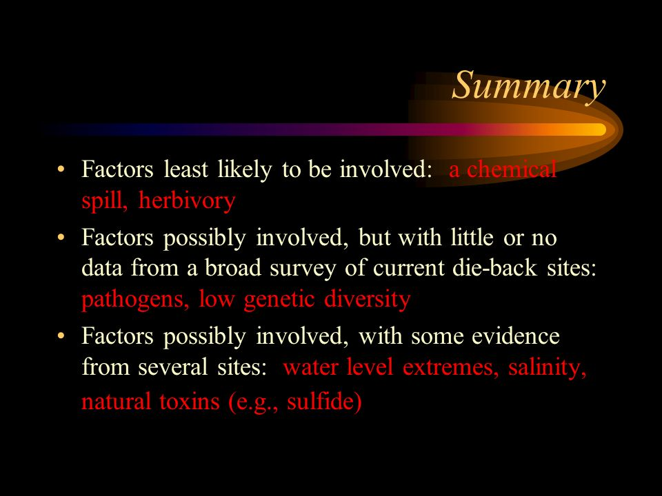 Summary Factors least likely to be involved: a chemical spill, herbivory.