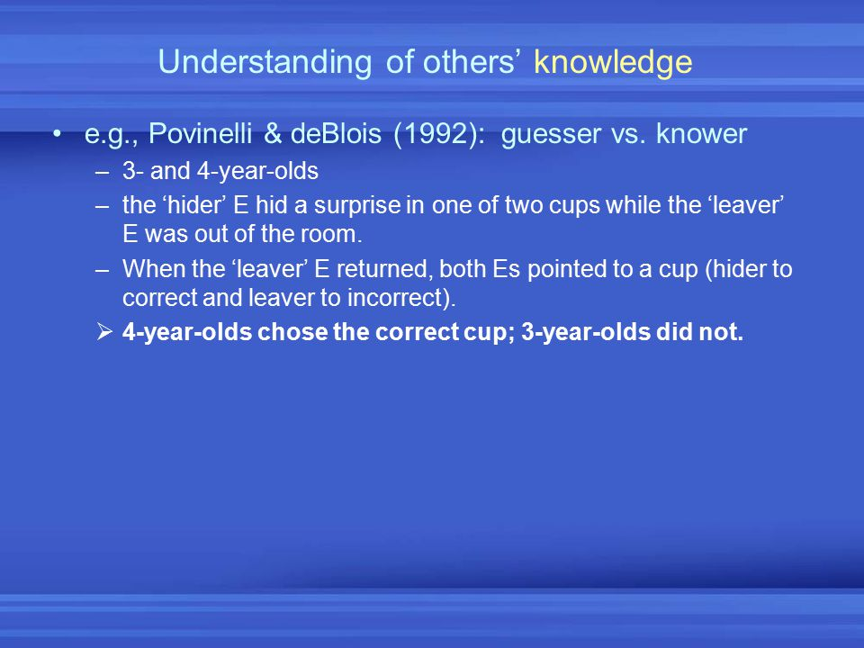 Understanding of others' knowledge