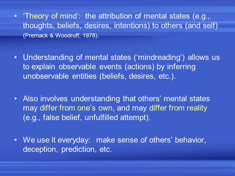 'Theory of mind': the attribution of mental states (e. g