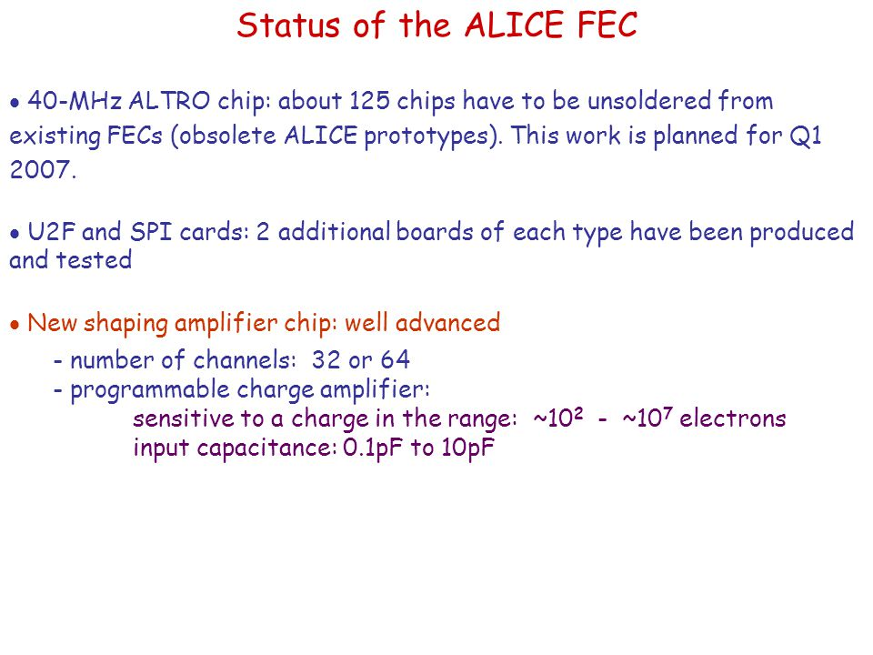 Status of the ALICE FEC