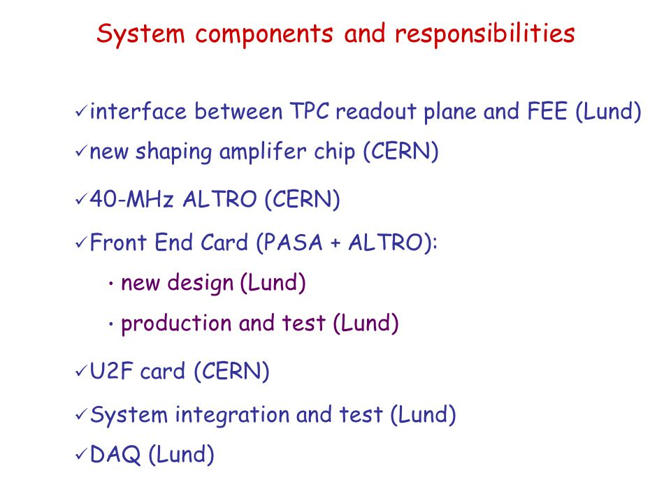 System components and responsibilities