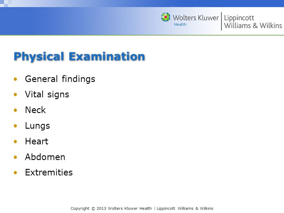 Physical Examination General findings Vital signs Neck Lungs Heart